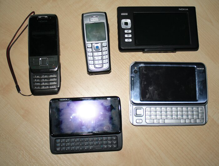 Nokia N900 with my other Nokia devices