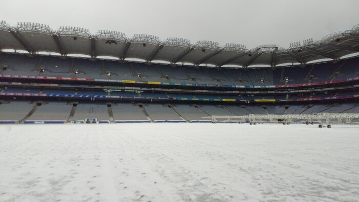 Croke Park stadium - playing field covered with snow